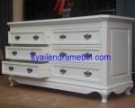 Meja Nakas 6 Laci Putih Mewah