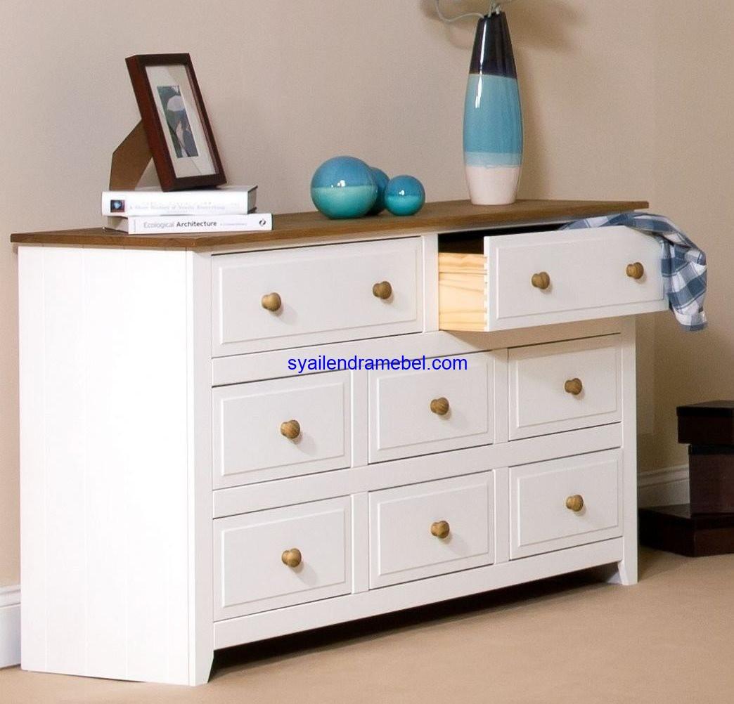 Meja Nakas Putih Laci 8
