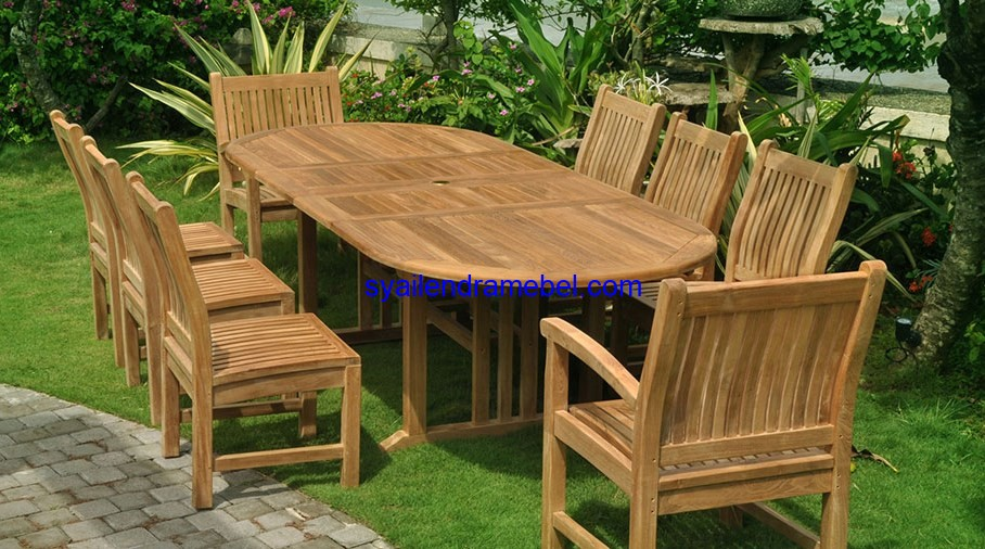 Set Meja Makan Jati Outdoor