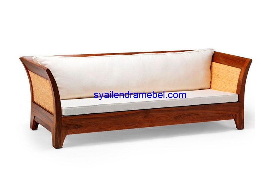 Sofa Minimalis Kayu Jati Rotan
